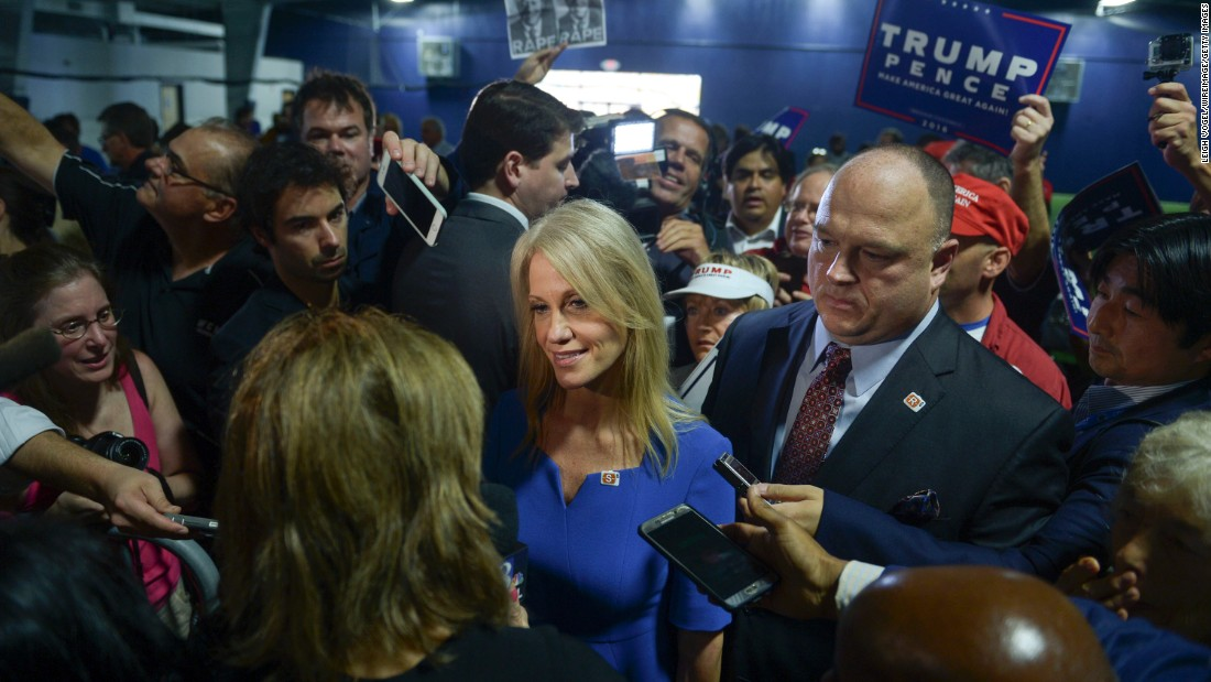 Donald Trump's campaign manager, Kellyanne Conway, speaks to the media at a Trump rally in Berwyn, Pennsylvania, on Thursday, November 3.