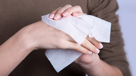 "Wet wipes are increasingly popular for use on skin or household surfaces, which is causing problems further down the line. Although labeled as ""flushable,"" they contain plastic and don"