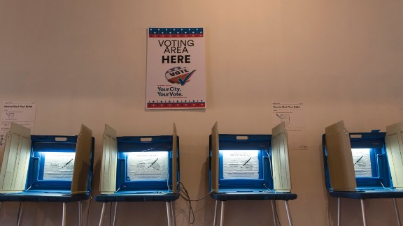 Voting booths inside the Early Vote Center in Minneapolis, Minnesota on October 5, 2016. Voters in Minnesota can submit their ballot for the General Election at locations across the state every day until Election Day on November 8, 2016. / AFP / STEPHEN MATUREN        (Photo credit should read STEPHEN MATUREN/AFP/Getty Images)
