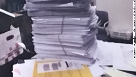 A photo introduced as evidence to the Delaware County Voter Registration Commission. It shows the stack of voter registration applications that were sent to the county and collected by FieldWorks.
