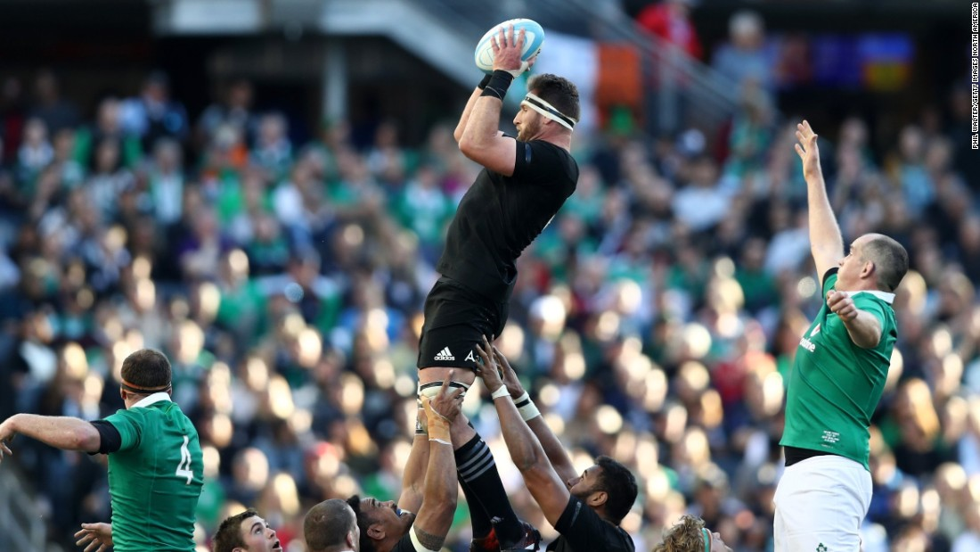 All Blacks captain Kieran Reid wins lineout ball in the thriller at Soldier Field.