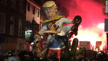 Donald Trump meets a fiery end in UK Bonfire Night tradition.
