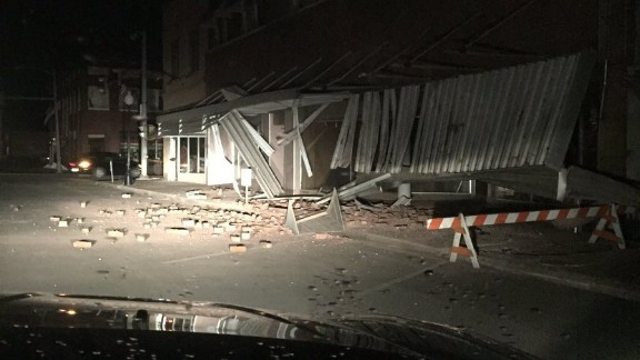 Damage from earthquake in Cushing, Oklahoma