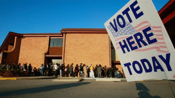 BIRMINGHAM, AL - NOVEMBER 04:  African-Americans line up to vote outside Bethel Missionary Baptist Church in the presidential election November 4, 2008 in Birmingham, Alabama. Birmingham, along with Selma and Montgomery, were touchstones in the civil rights movement where Dr. Martin Luther King Jr. led massive protests which eventually led to the Voting Rights Act of 1965 ending voter disfranchisement against African-Americans. Americans are voting in the first presidential election featuring an African-American candidate, Democratic contender Sen. Barack Obama, who is running against Republican Sen. John McCain.  (Photo by Mario Tama/Getty Images)