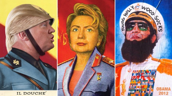 """Sabo depicts Hillary Clinton as a Soviet Union leader, Donald Trump as Italy's Benito Mussolini and President Barack Obama as Gen. Aladeen from the film, """"The Dictator."""""""
