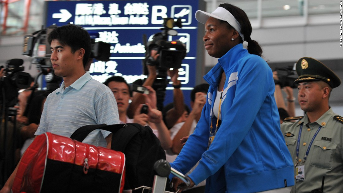 The global nature of the sport means that tennis stars fly to tournaments in all corners of the globe. Here, Venus Williams arrives at Beijing Airport prior to the 2008 Olympics.