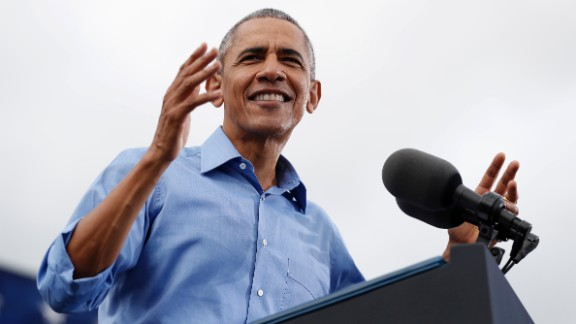 President Barack Obama speaks at a campaign event for Democratic presidential candidate Hillary Clinton at Osceola County Stadium in Kissimmee, Fla., Sunday, Nov. 6, 2016. (AP Photo/Carolyn Kaster)