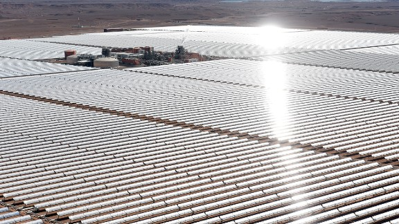 In the desert 12.5 miles outside of town, the plant's first stage has been completed. Its parabolic mirrors will play a significant role in contributing towards the nation's target of generating 40 percent of its energy from renewables by 2020.