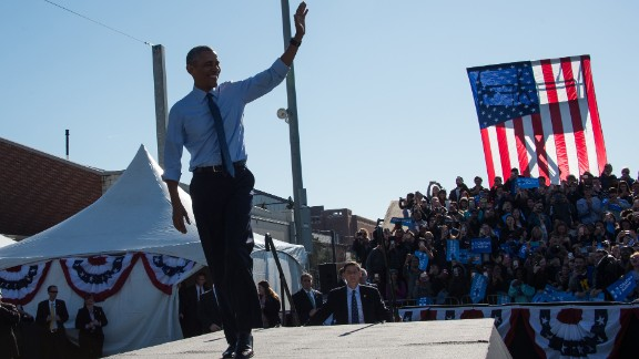 President Obama arrives to speak at a Clinton rally in Ann Arbor, Michigan, on November 7.