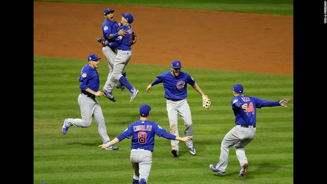 "The Chicago Cubs celebrate after <a href=""http://www.cnn.com/2016/11/02/sport/world-series-game-7-chicago-cubs-cleveland-indians/"" target=""_blank"">winning Game 7 of the World Series</a> on Thursday, November 3. The Cubs defeated the Cleveland Indians in 10 innings to end the longest championship drought in major U.S. sports. The Cubs hadn't won the World Series since 1908."