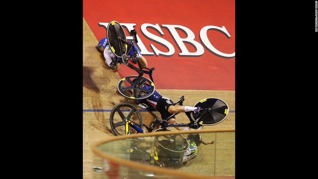 Cyclists crash during a women's keirin final in Glasgow, Scotland, on Friday, November 4.