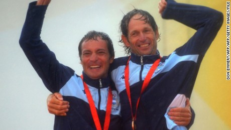 Lange (R) and Carlos Espinola won bronze in the Tornado class at the 2008 Beijing Olympics.