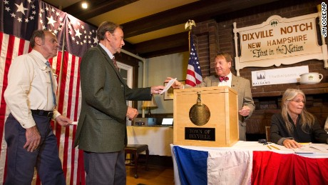 Voters in Dixville Notch, N.H., cast their ballots just after midnight Tuesday, Nov. 8, 2016, in Dixville Notch, N.H.
