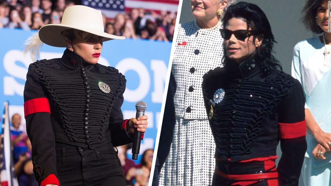 18f4d494 Lady Gaga wears iconic jacket belonging to Michael Jackson at Hillary  Clinton rally - CNN