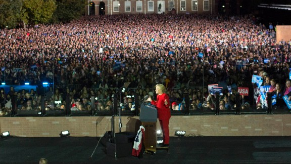 Clinton's rally in Philadelphia included appearances from President Barack Obama and first lady Michelle Obama.