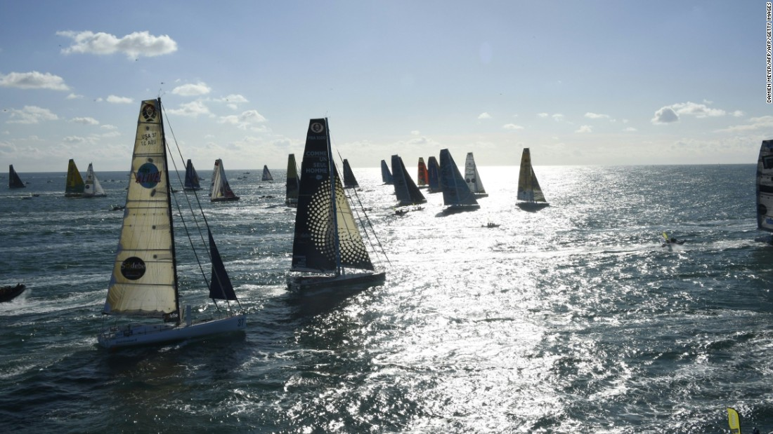 Competitors make their way out to sea at the start of the 2016-17 Vendée Globe from in Les Sables-d'Olonne.