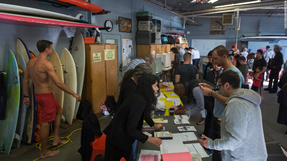 People vote at the Los Angeles Lifeguard station in Venice Beach, California.