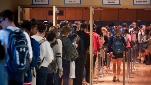 Penn State students stand in line inside the Student Union, called The Hub, waiting to cast their ballots in State College, Pennsylvania.