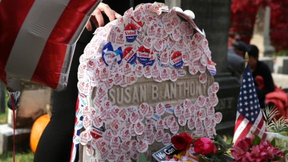 """I voted"" stickers are placed at the gravesite of Susan B. Anthony in Rochester, New York. Anthony, a social reformer who died in 1906, played a major role in the women's suffrage movement."