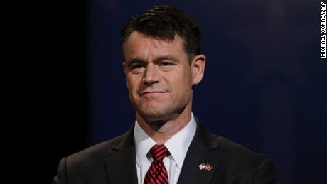 Republican Todd Young participates in debate for Indiana's open U.S. Senate seat in Indianapolis, Tuesday, Oct. 18, 2016.