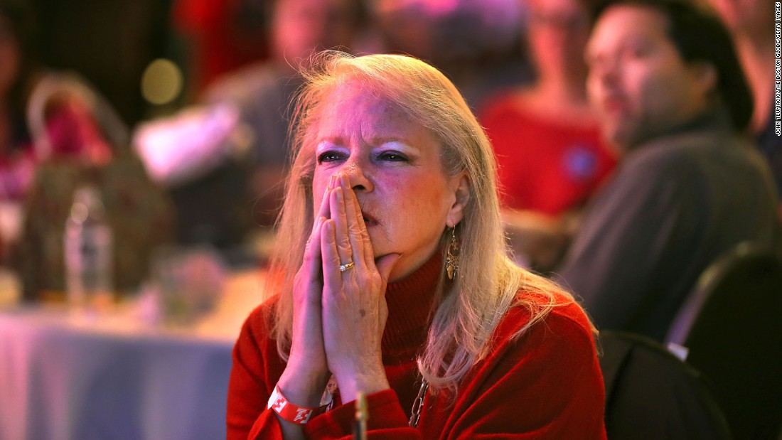 Diane LaRaia watches election results at a party for Trump supporters in Braintree, Massachusetts.