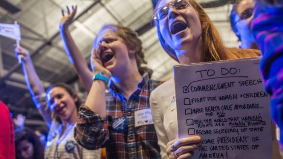 Claire Shea, dressed as Clinton, cheers during an election night party at Wellesley College in Wellesley, Massachusetts. Wellesley College is Clinton's alma mater.