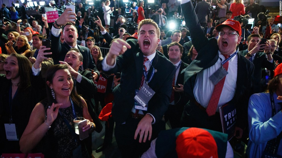 Trump supporters cheer election returns in New York.