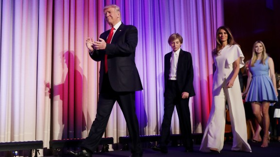 """Trump walks on stage with his family after he was declared the election winner in November 2016. """"Ours was not a campaign, but rather, an incredible and great movement,"""" he told his supporters in New York."""