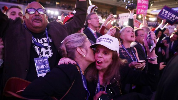 People celebrate Trump's win during a victory party at the New York Hilton Midtown Hotel.