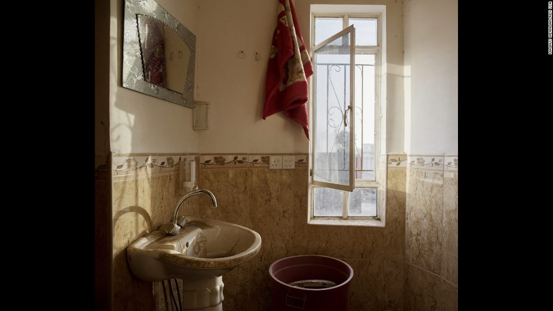 A bathroom inside one of the abandoned houses.