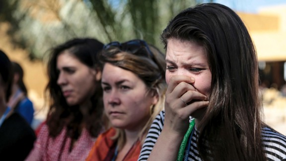 Bethany Hindmarsh, an environmental activist attending the COP22 Climate Conference in Marrakesh, Morocco, reacts during a protest against Trump on November 9. News of Trump's win has alarmed environmentalists and climate scientists concerned that a Trump presidency could mean the United States pulls out of an international climate deal.
