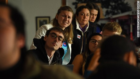 Supporters of Hillary Clinton react as they watch results of the US election come in at a cafe in Beijing on November 9, 2016. Share markets collapsed November 9 and the dollar tumbled against the yen and the euro as Donald Trump looked on course to win the White House, in a stunning upset with major implications for the world economy. / AFP PHOTO / GREG BAKERGREG BAKER/AFP/Getty Images