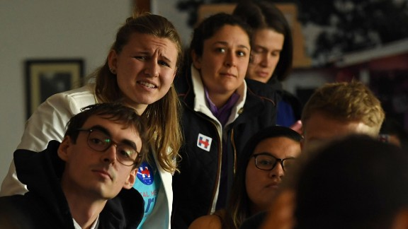 Clinton supporters watch the incoming results at a cafe in Beijing on November 9.