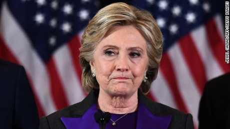 US Democratic presidential candidate Hillary Clinton makes a concession speech after being defeated by Republican president-elect Donald Trump in New York on November 9, 2016. / AFP / JEWEL SAMAD        (Photo credit should read JEWEL SAMAD/AFP/Getty Images)