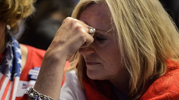 A supporter of Hillary Clinton reacts as she watches live coverage of the US elections at an event organised by the American Chamber of Commerce in Hong Kong on November 9, 2016. Share markets collapsed and the dollar tumbled against the yen and the euro as Donald Trump looked on course to win the race for the White House, in a stunning upset with major implications for the world economy. / AFP / ANTHONY WALLACE        (Photo credit should read ANTHONY WALLACE/AFP/Getty Images)