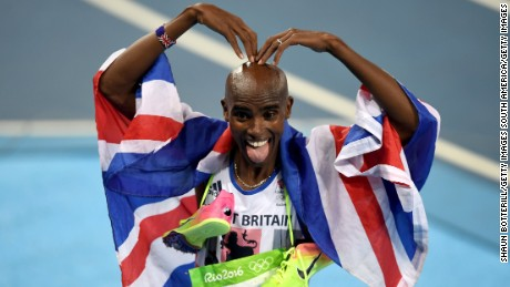 Mo Farah celebrates winning gold in the Men's 5,000 meter final at the Rio 2016 Olympic Games.