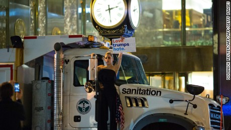 Lady Gaga protested on a sanitation truck outside Trump Tower in New York City  on election night.