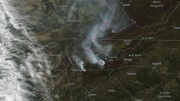 NASA's Aqua satellite took this image of wildfires in North Carolina, Georgia, Tennessee and Virginia.