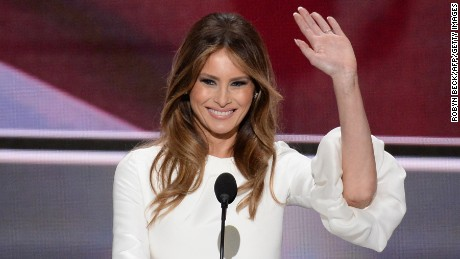 Melania Trump, wife of presumptive Republican presidential candidate Donald Trump, addresses delegates on the first day of the Republican National Convention on July 18, 2016 at Quicken Loans Arena in Cleveland, Ohio. The Republican Party opened its national convention, kicking off a four-day political jamboree that will anoint billionaire Donald Trump as its presidential nominee.