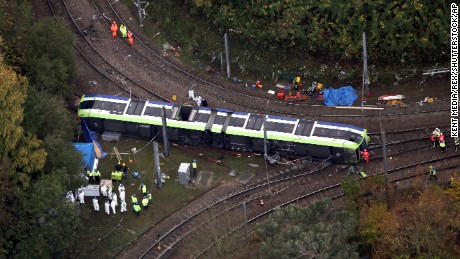 Aerial view of the tram derailment Tram overturns in Croydon, London, UK - 09 Nov 2016 (Rex Features via AP Images)