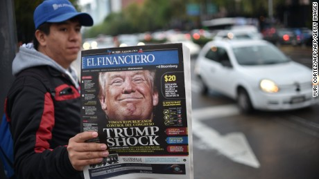 A Mexican newspaper with its front page referring to the eventual triumph of US presidential candidate Donald Trump on November 9, 2016 in Mexico City. / AFP / YURI CORTEZ        (Photo credit should read YURI CORTEZ/AFP/Getty Images)