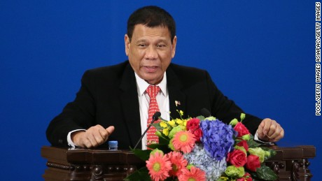 BEIJING, CHINA - OCTOBER 20: Philippines President Rodrigo Duterte makes a speech during the Philippines - China Trade and Investment Fourm at the Great Hall of the People on October 20, 2016 in Beijing, China. Philippine President Rodrigo Duterte is on a four-day state visit to China, his first since taking power in late June, with the aim of improving bilateral relations.  (Photo by Wu Hong-Pool/Getty Images)
