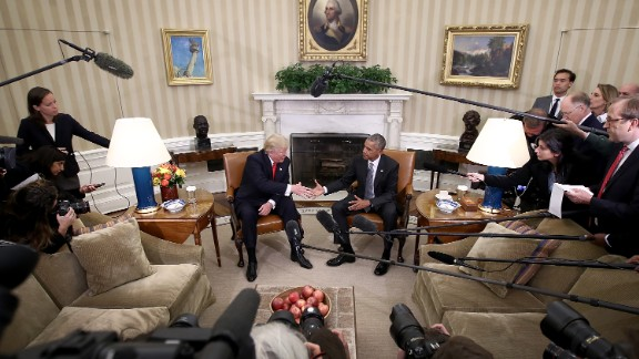 Barack Obama greets Donald Trump in the Oval Office shortly after Trump's election win in November.