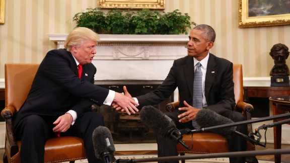 "Obama shakes hands with President-elect Donald Trump in the Oval Office on November 10, 2016. ""My No. 1 priority in the next two months is to try to facilitate a transition that ensures our President-elect is successful,"" Obama said after meeting with Trump for about 90 minutes."