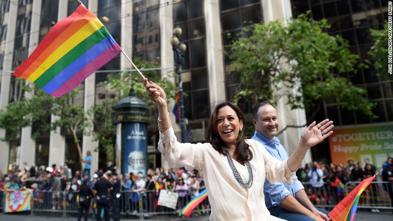 Kamala Harris, then California's attorney general, rides in San Francisco's Pride parade in 2016.