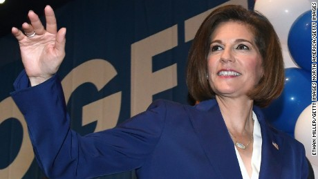 Catherine Cortez Masto waves to supporters after winning her senate race against Joe Heck.