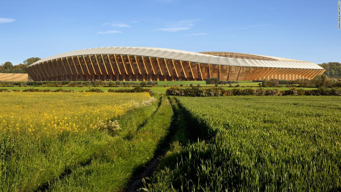 English football club Forest Green Rovers has proposed to build a stadium made almost entirely out of timber. It has designed by Zaha Hadid Architects -- the firm behind the London Aquatics Centre, which was built for the 2012 Olympics. Located just outside the town of Stroud in western England, Forest Green's new home intends to complement the surrounding meadow landscape, as this computer-generated image depicts.