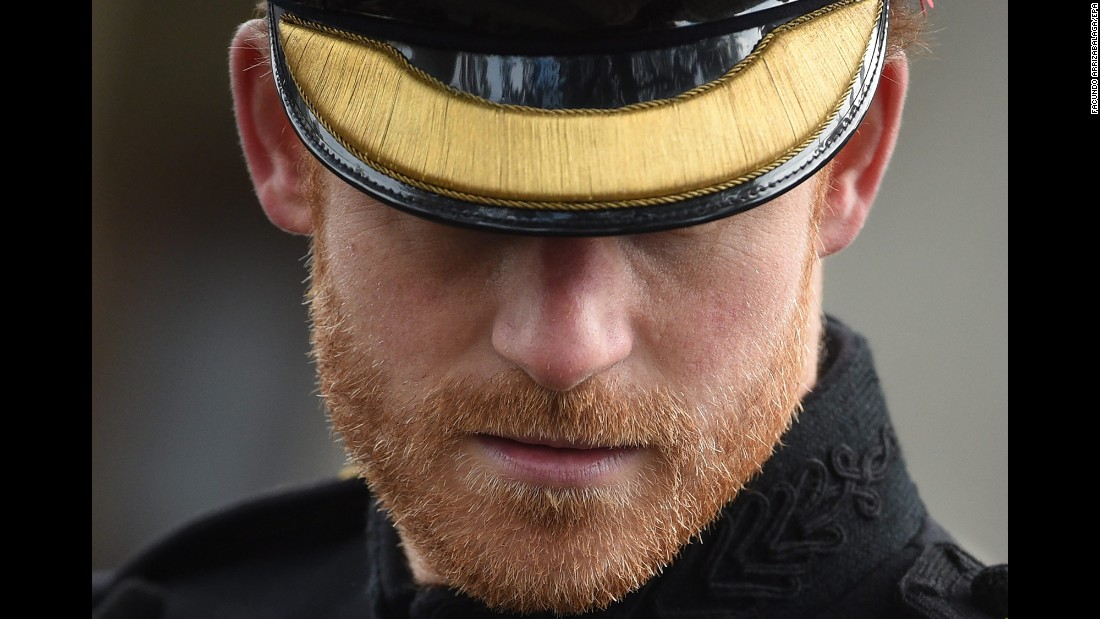 Britain's Prince Harry visits the Field of Remembrance in London on Thursday, November 10. Harry paid tribute to the nation's war dead ahead of Armistice Day.