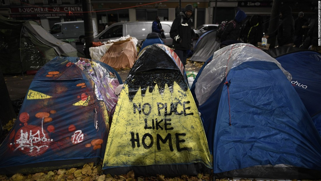 "Migrant tents are seen during the <a href=""http://www.cnn.com/2016/11/04/europe/paris-migrant-camp-clearance/"" target=""_blank"">evacuation of a makeshift camp</a> in Paris on Friday, November 4. Last month, French authorities <a href=""http://www.cnn.com/2016/10/24/europe/france-calais-jungle-demolition/"" target=""_blank"">officially closed the Calais migrant camp known as the ""Jungle,""</a> and since then, thousands of migrants have been setting up makeshift camps elsewhere in the country."