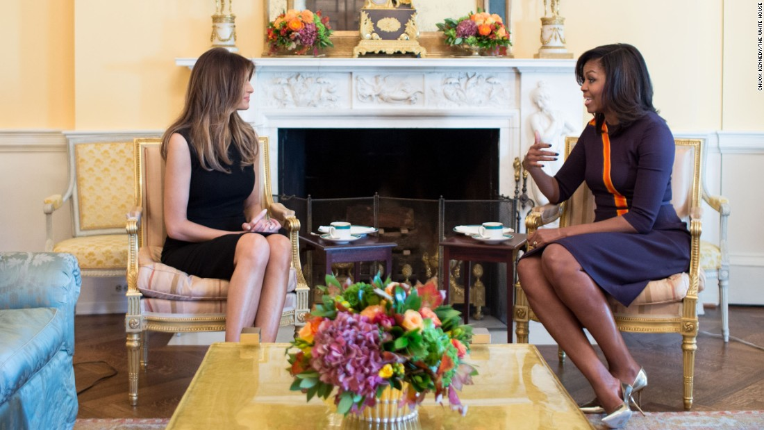 "First lady Michelle Obama <a href=""http://www.cnn.com/2016/11/10/politics/melania-trump-michelle-obama-white-house/"" target=""_blank"">has tea in the White House </a>with Melania Trump, wife of President-elect Donald Trump, on Thursday, November 10. Obama also gave Trump a tour of the residence, and the two moms discussed raising children there, Press Secretary Josh Earnest said."
